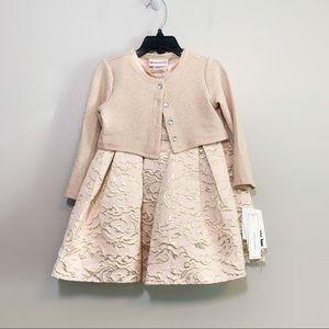 Sweet Heart Rose Jacquard Embellished Dress Set